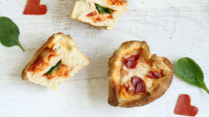 Mini Heart-Shaped Pizza Cakes