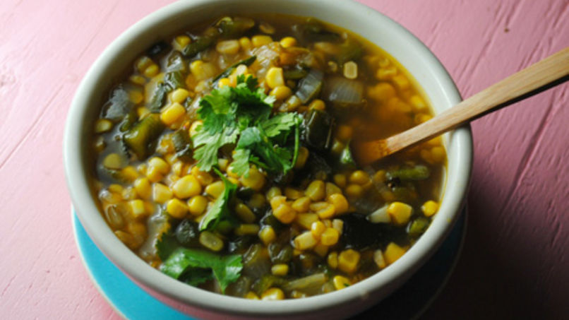 Roasted Poblano Corn Soup