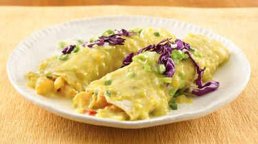 Shrimp Enchiladas with Sweet Corn Sauce