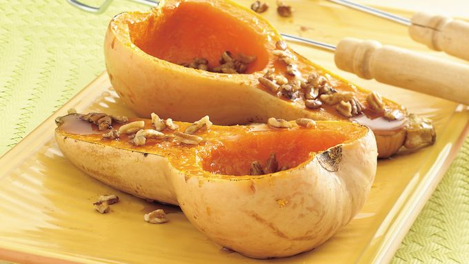 Grilled Maple- and Pecan-Topped Butternut Squash