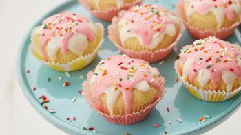 Glazed Strawberry-Filled Doughnut Cupcakes