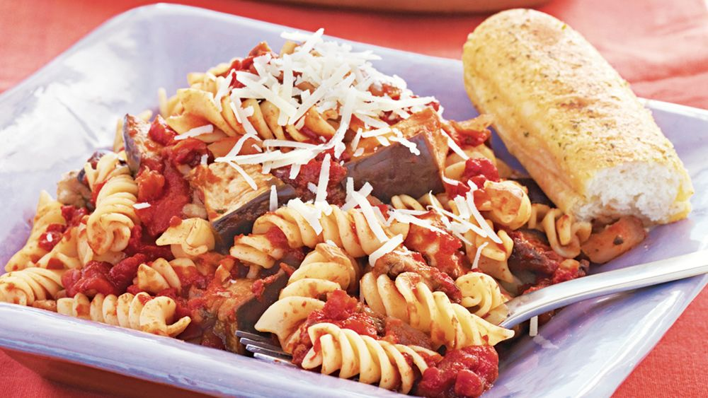 Slow-Cooker Eggplant and Tomato Sauce with Pasta
