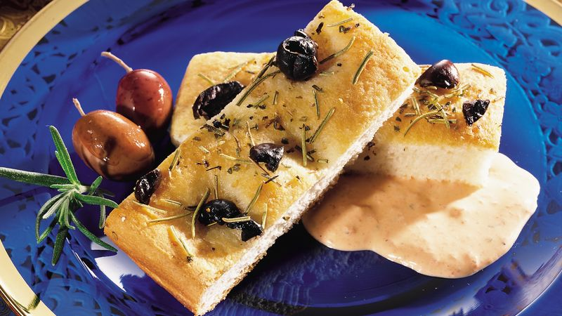 Olive Focaccia with Roasted Bell Pepper Dip
