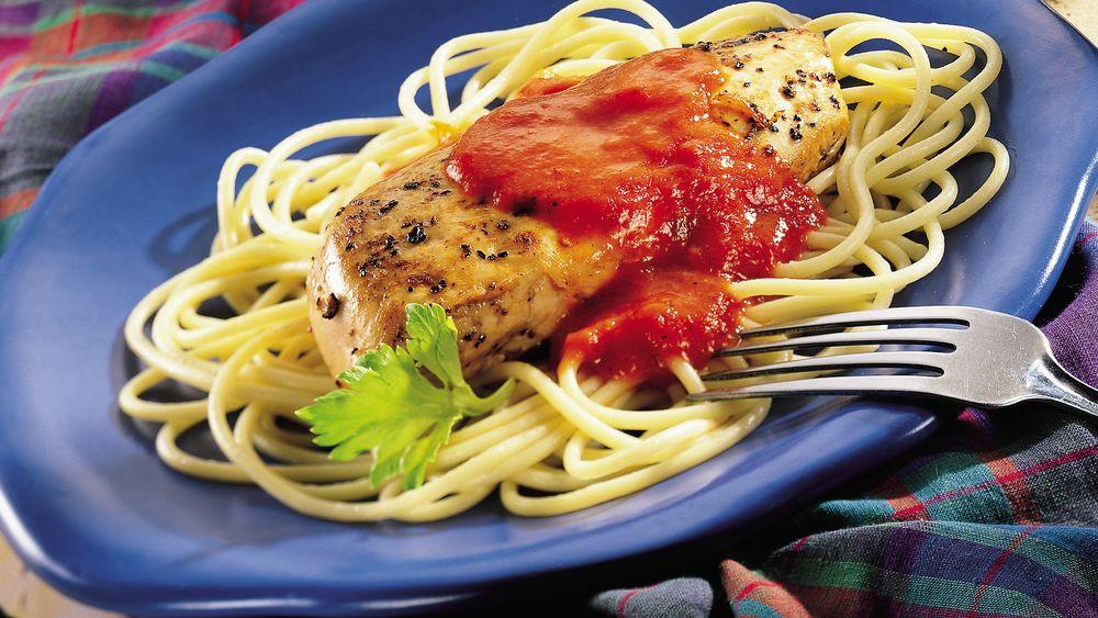 Garlic Chicken Pasta with Roasted Red Pepper Cream Sauce
