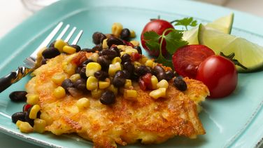 Potato Patties with Black Bean Salsa