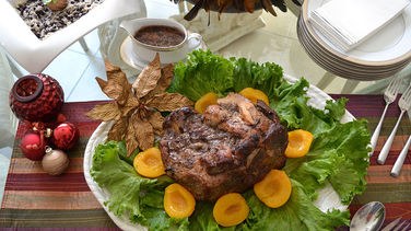 Baked Pork Shoulder in Red Wine and Orange Sauce