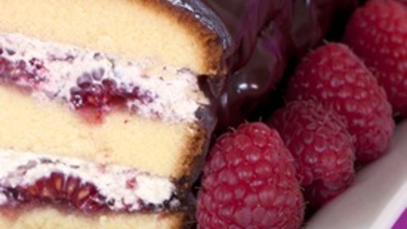 Raspberry Cream Cake with Chocolate Ganache