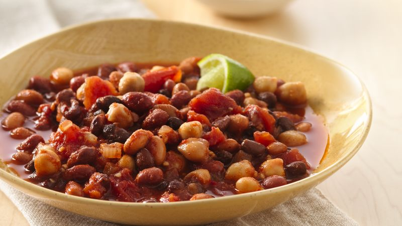 Slow-Cooker Chipotle Four-Bean Chili with Lime