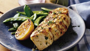 Grilled Lemon Garlic Halibut Steaks