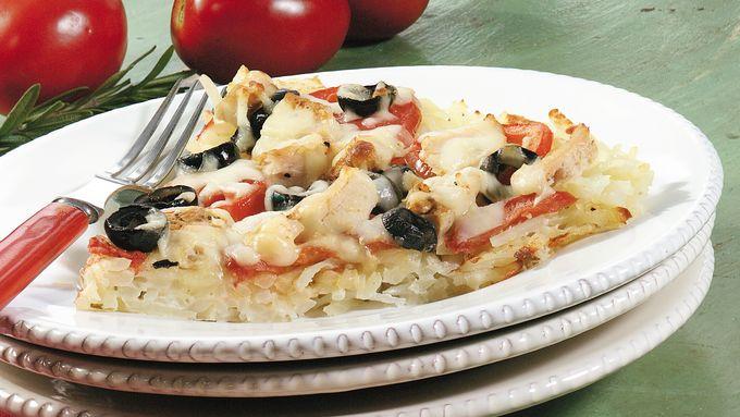 Chicken Pizza with Potato Crust