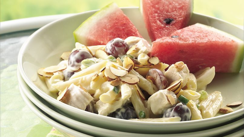 Pasta-Chicken Salad on Watermelon Wedges