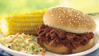 Slow-Cooker Beef and Pork Barbecue Sandwiches