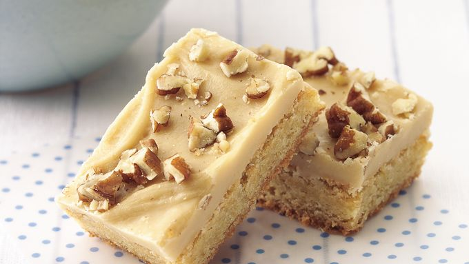 Blonde Brownies with Brown Sugar Frosting