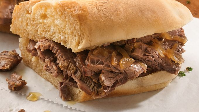 Slow-Cooker Easy French Dip Sandwiches