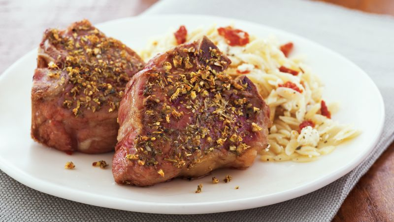 Lamb Chops with Herbed-Feta Orzo recipe from Betty Crocker