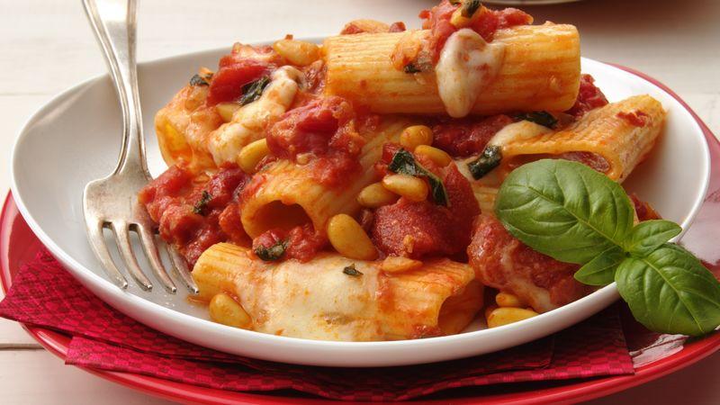 Tomato-Basil Pasta with Fresh Mozzarella