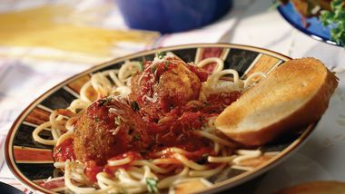 Spaghetti and Spicy Rice Balls
