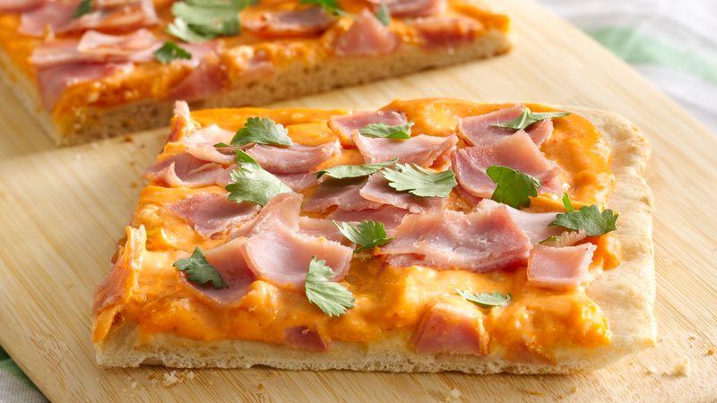 Ham and Creamy Sriracha Pizza