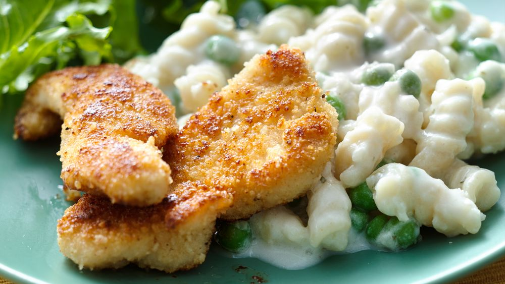Crispy Parmesan Chicken with Creamy Cauliflower Pasta
