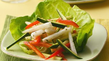 Jicama, Zucchini and Red Pepper Salad