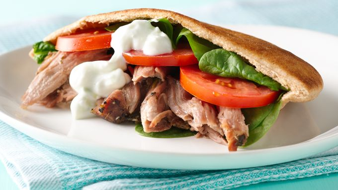 Slow-Cooker Pork Pita Sandwiches with Tzatziki