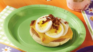 Egg and Bacon Topped Muffins