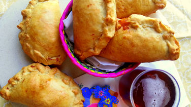 Beer Batter Empanadas with Ham and Cheese