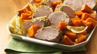 Italian Pork Tenderloin with Roasted Sweet Potatoes