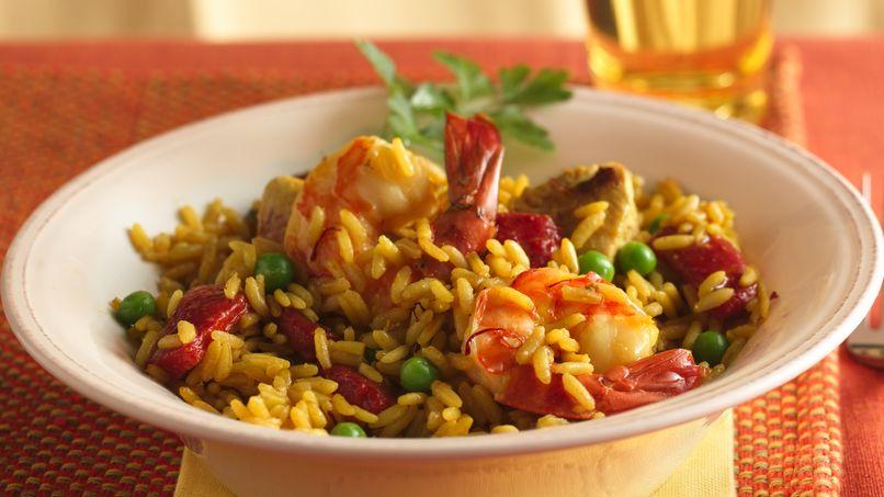 Saffron Rice with Chicken and Shrimp (Paella)