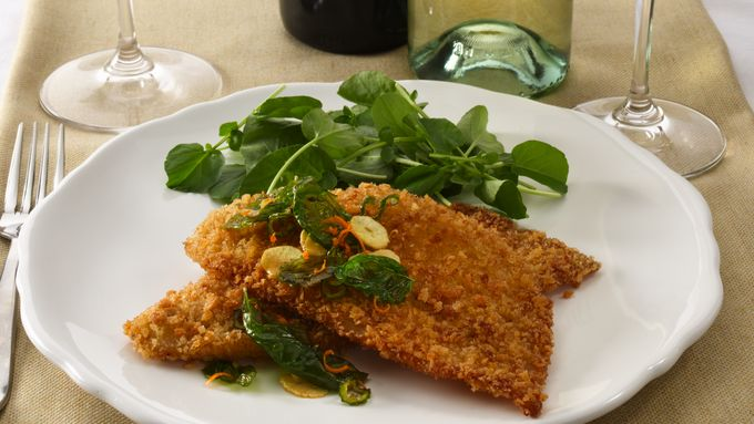 Panko Crusted Petrale Sole with Basil, Garlic and Orange