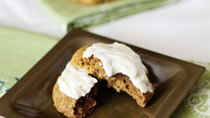 Soft Pumpkin Granola Cookies with Cream Cheese Glaze