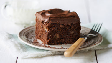 Brownie Nut Cake with Chocolate Cream Cheese Frosting