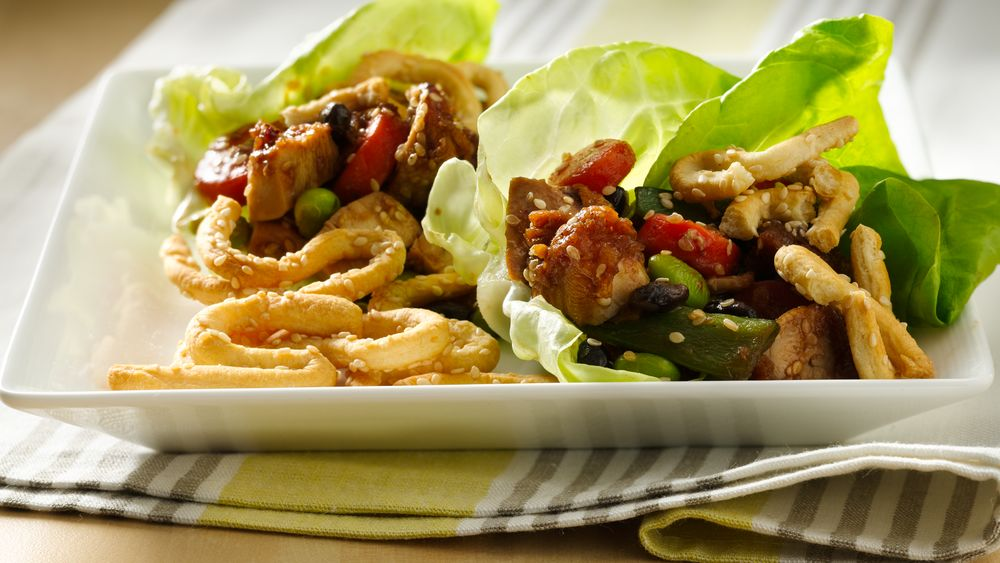 Chicken Lettuce Wraps with Sesame Crescent Noodles