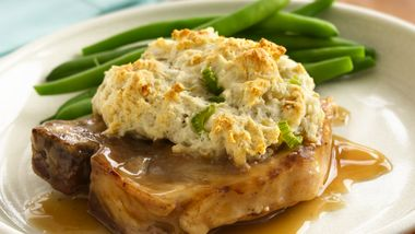 Gravy Pork Chops with Stuffing Biscuits