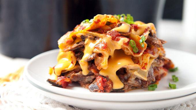 Slow-Cooker Cheesesteak Lasagna