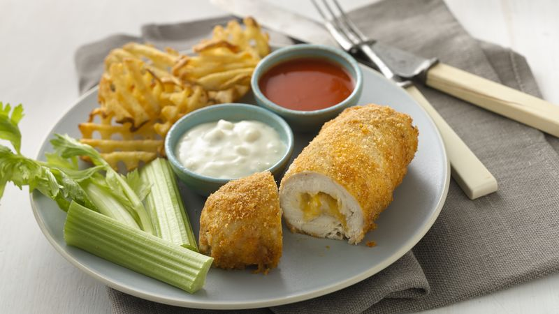Cheese-Stuffed Buffalo Chicken Rolls