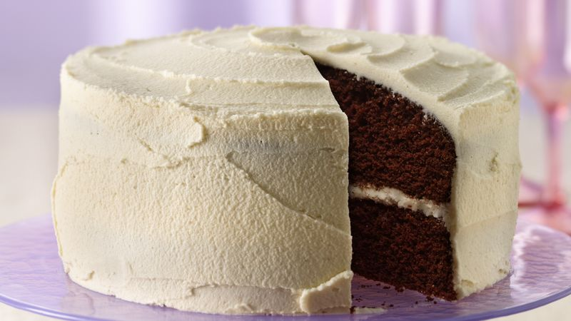 Delicious Chocolate Cake with White Frosting recipe from Betty Crocker