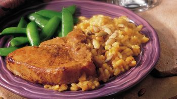 Maple Pork Chops with Pumpkin Risotto