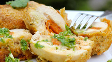 Chorizo and Cheese Stuffed Chicken with Chimichurri Sauce