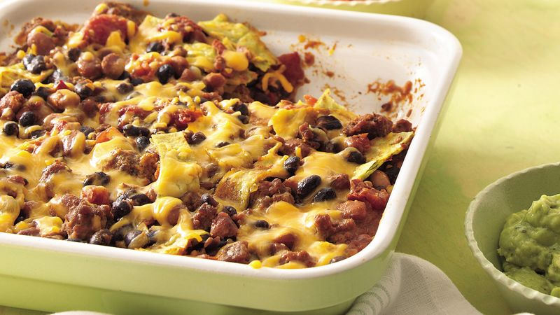 Beef and Bean Tortilla Bake