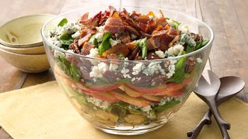 Layered Maple Bacon Brussels Salad