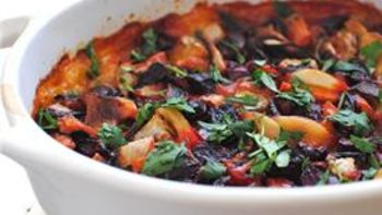 Potatoes Au Gratin with Roasted Vegetables