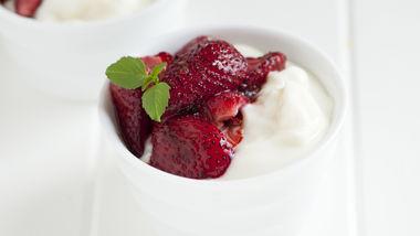 Basil Roasted Strawberries with Yogurt