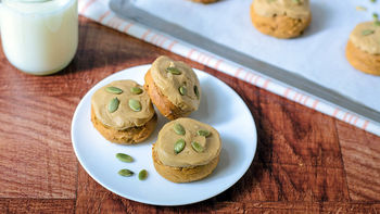 Pumpkin Cookies with Caramel Frosting