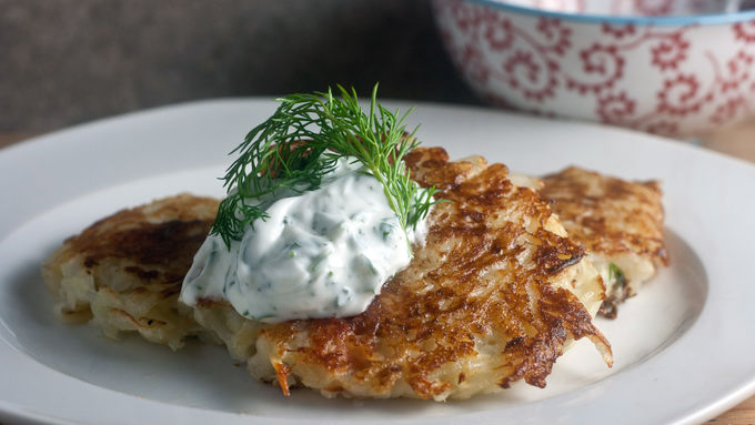 Potato and Smoked Salmon Pancakes with Creamy Dill Sauce