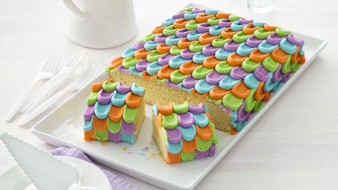 Rainbow Petal Sheet Cake