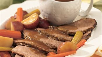 Slow-Cooker Beef Roast and Vegetables with Horseradish Gravy