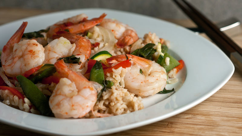Thai Basil Shrimp Foil Packs