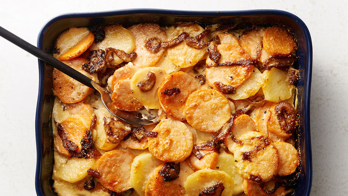 Sweet Potato and Caramelized Onion Gratin