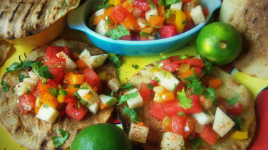 Spicy Watermelon & Jicama Salsa with Grilled Tostadas